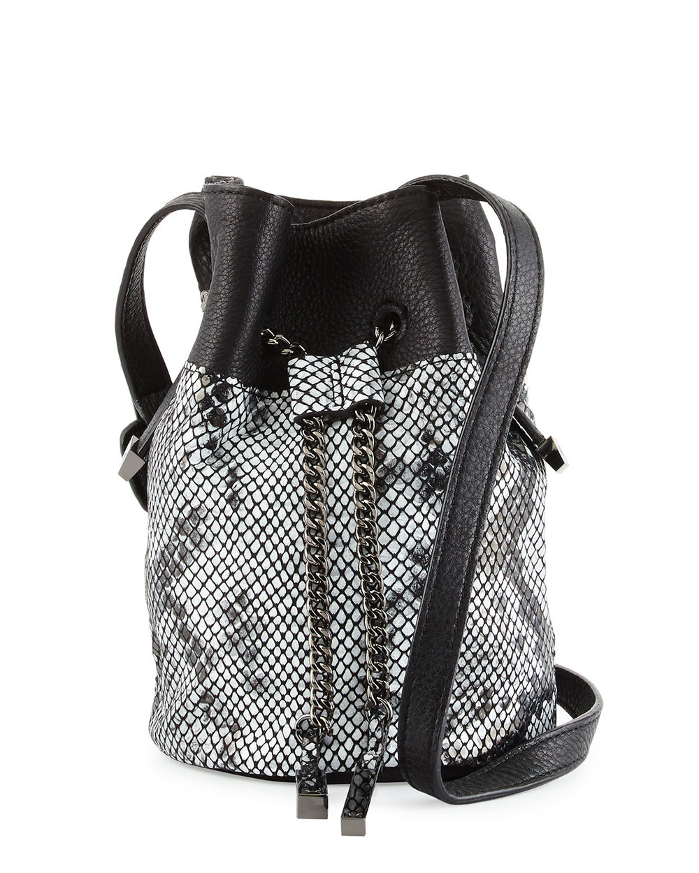 Halston Heritage Snake-Embossed Leather Bucket Bag, Black/Multi • $194.40 • Neiman Marcus