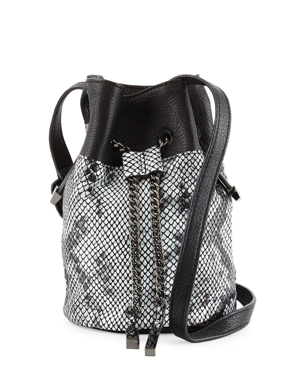 Halston Heritage Snake-Embossed Leather Bucket Bag, Black/Multi • $194.40 • Neiman Marcus