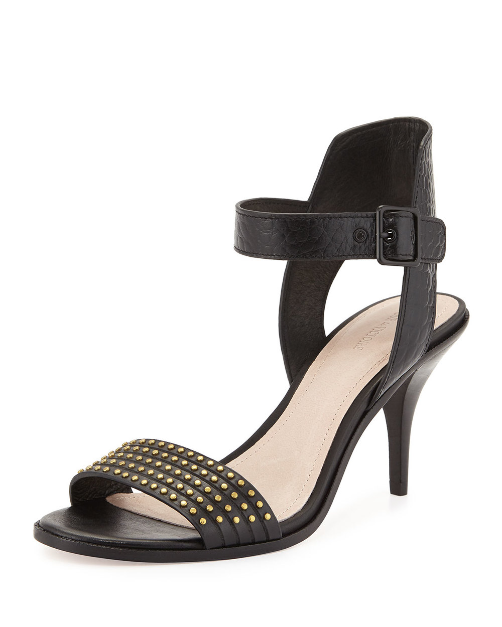 Pour la Victoire Mya Studded Ankle-Wrap Sandal, Black • $109.60 • Neiman Marcus
