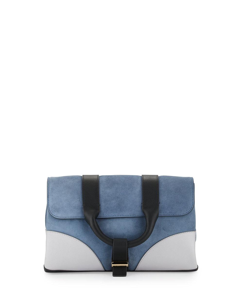 Jason Wu Hanne Suede & Leather Clutch Bag, Dark Plexi • $536.80 • Neiman Marcus