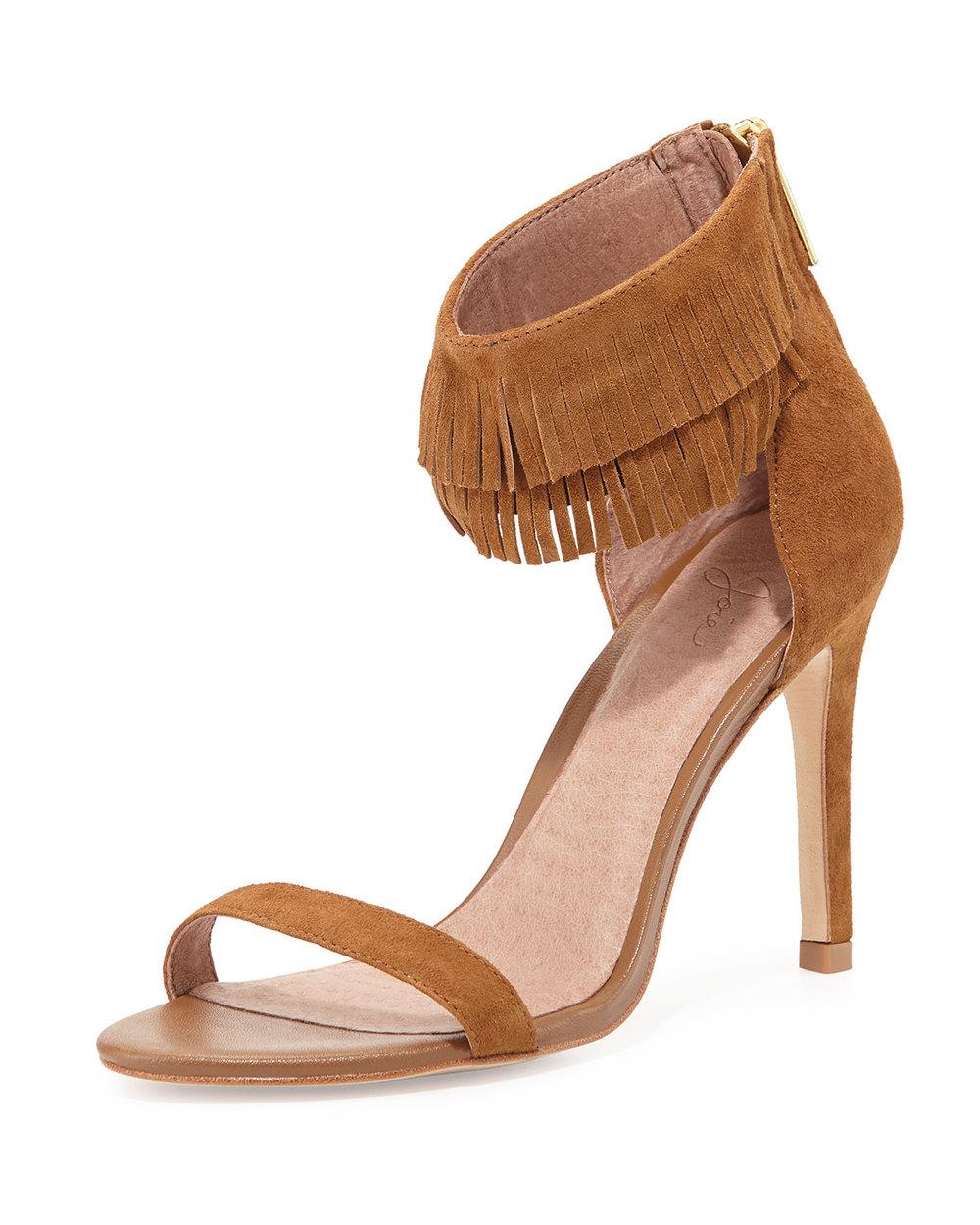Joie Suede Fringe-Cuff Sandal, Cognac • $117.60 • Neiman Marcus