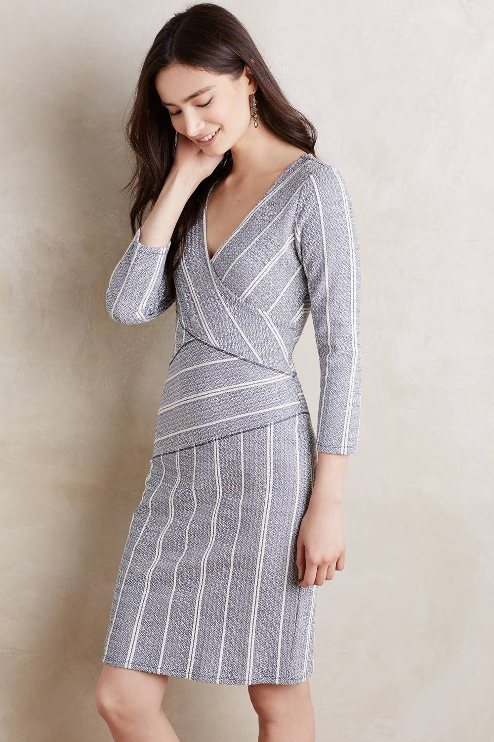 Maeve Wrapped Stripe Column Dress