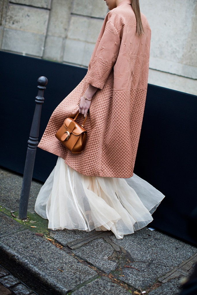 how to wear a blush duster coat over a formal gown