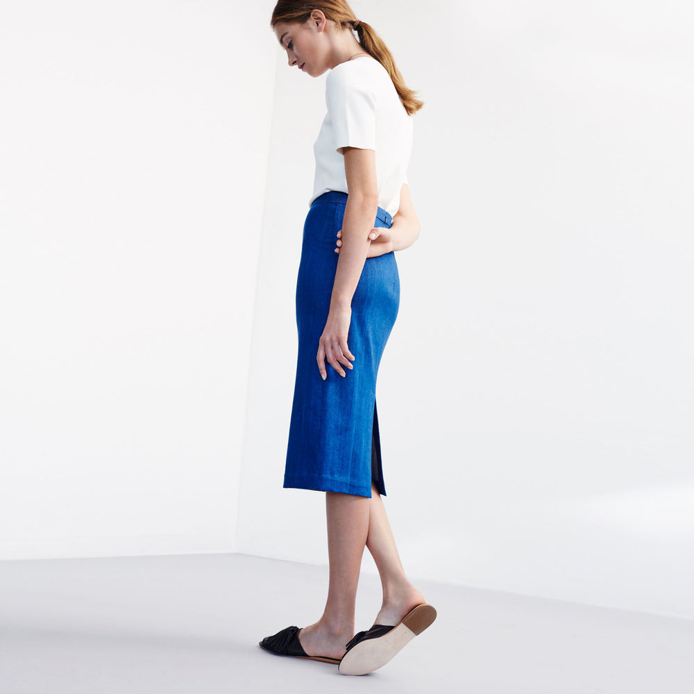 shop the Ursula Denim Column Skirt