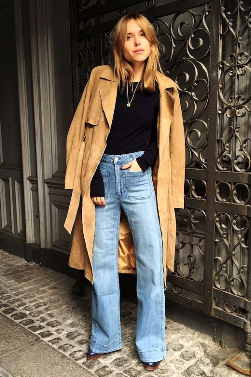how to wear a suede trench coat and wide leg flare hem jeans