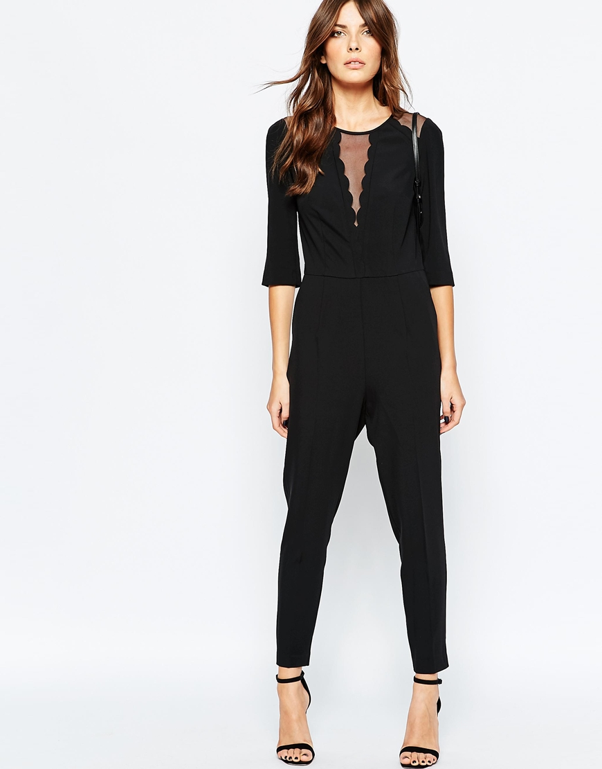 shop the Sisley Scallop Jumpsuit in Black