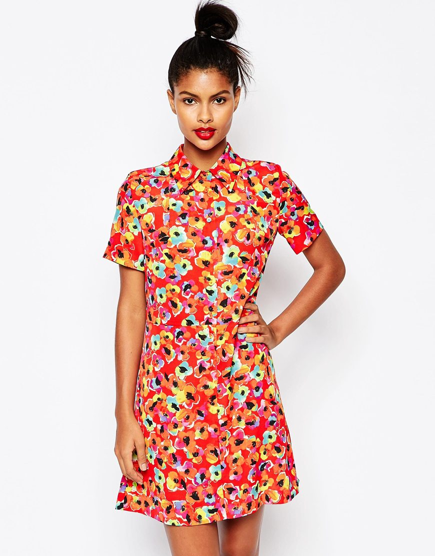 shop the Sonia by Sonia Rykiel Red Printed Shirt Dress