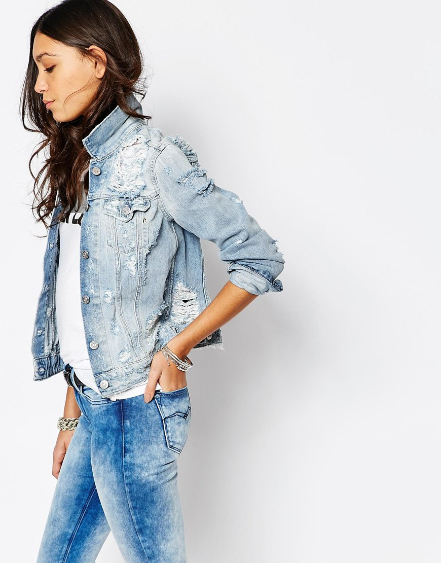 shop the Replay Boyfriend Denim Jacket With Destroyed Detail