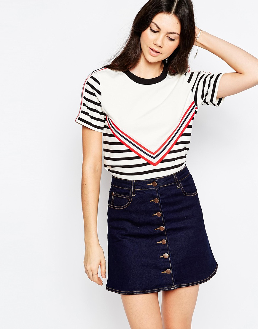 shop the See By Chloe Striped T-shirt With V Contrast