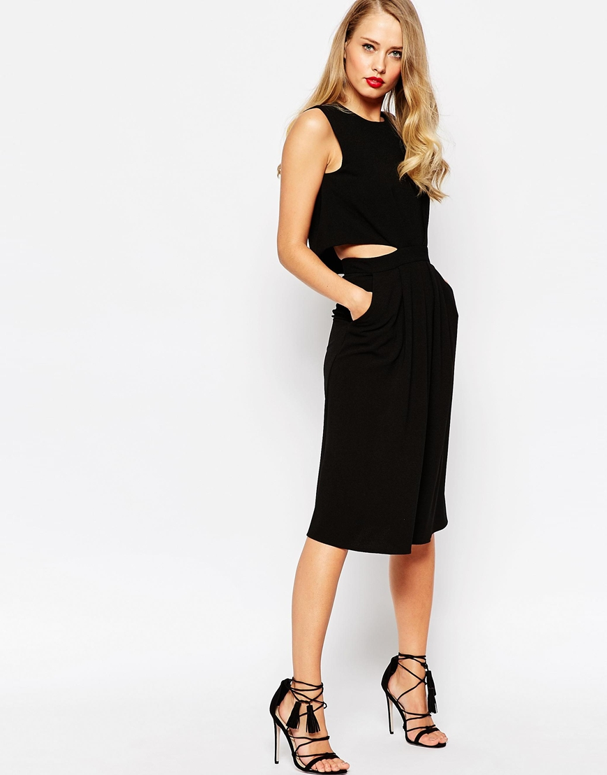 shop the ASOS Midi Dress in Crepe with Double Layer