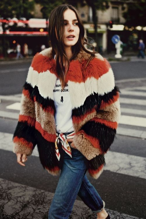 how to wear a striped fur coat