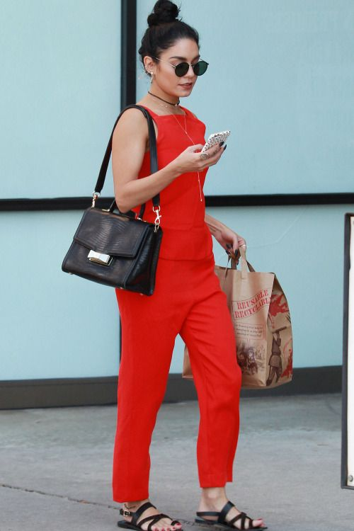 how to wear a red jumpsuit and black flat sandals