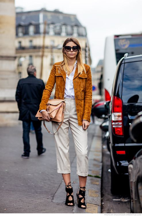 how to wear a suede jacket, chloe faye shoulder bag, cropped pants, and a strappy black sandal