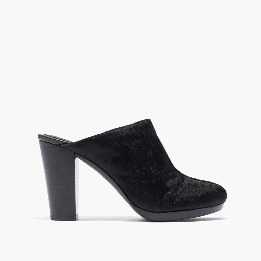 shop Madewell's The Andie High-Heel Clog in Calf Hair