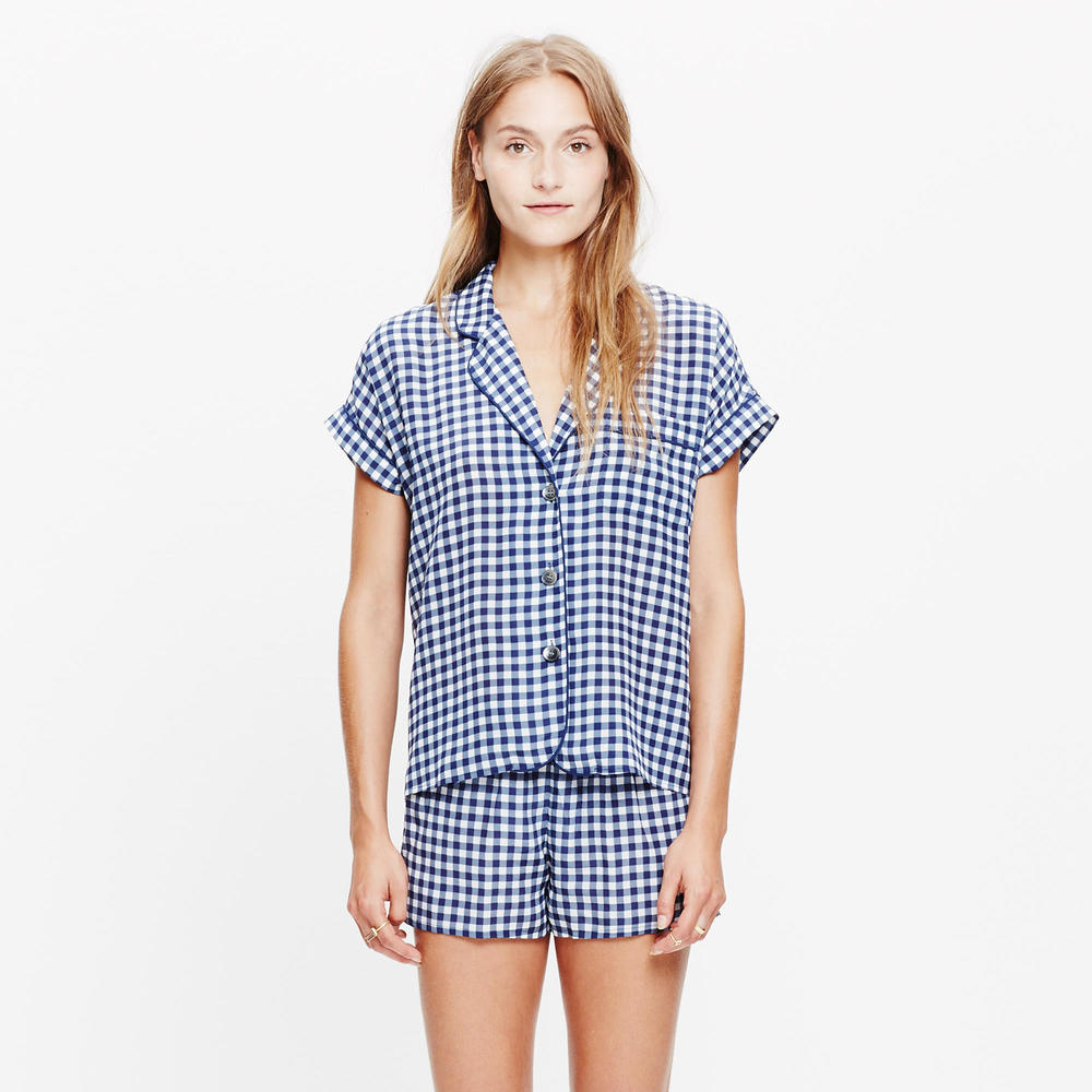 shop Madewell's Silk Bedtime Top in Gingham Check