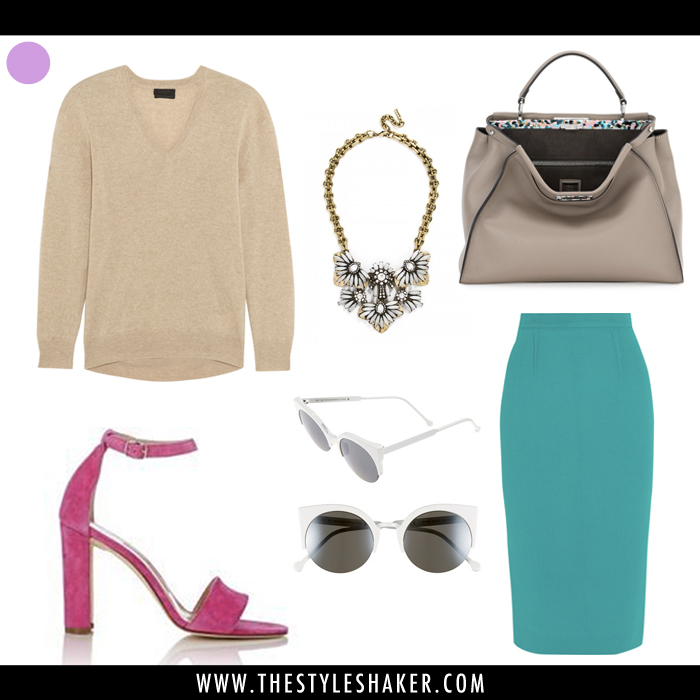 How to wear a bright teal pencil skirt with hot pink ankle strap sandals.