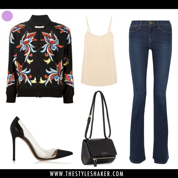 How to wear an embroidered bomber jacket with flare leg jeans.