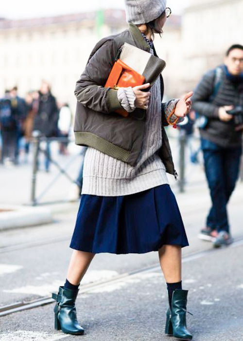 How to Wear a Bomber Jacket & Pleated Skirt. GET THE LOOK.