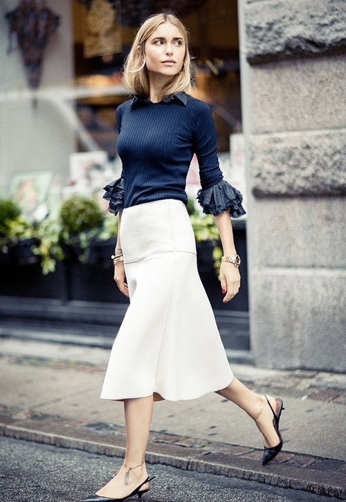 What to Wear to Work This Week: Navy Top, Bell-Sleeve Shirt, White ...