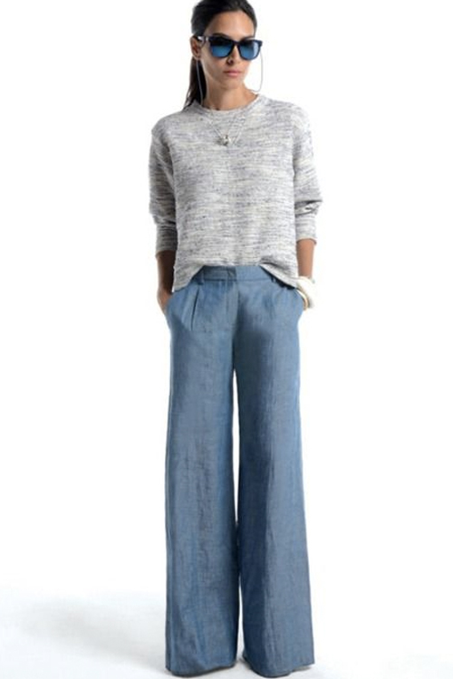 What to Wear This Weekend: Heather-Gray Sweater, Wide-Leg Chambray ...