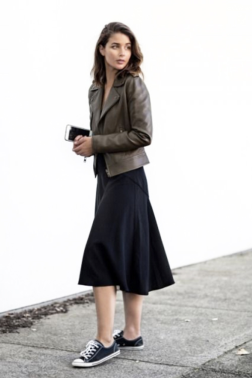 What To Wear This Weekend Leather Jacket Jersey Midi Dress Chuck Taylor Sneakers U2014 The ...