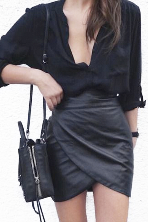 What to Wear Tonight: Black Button Front Shirt, Leather Wrap Mini ...