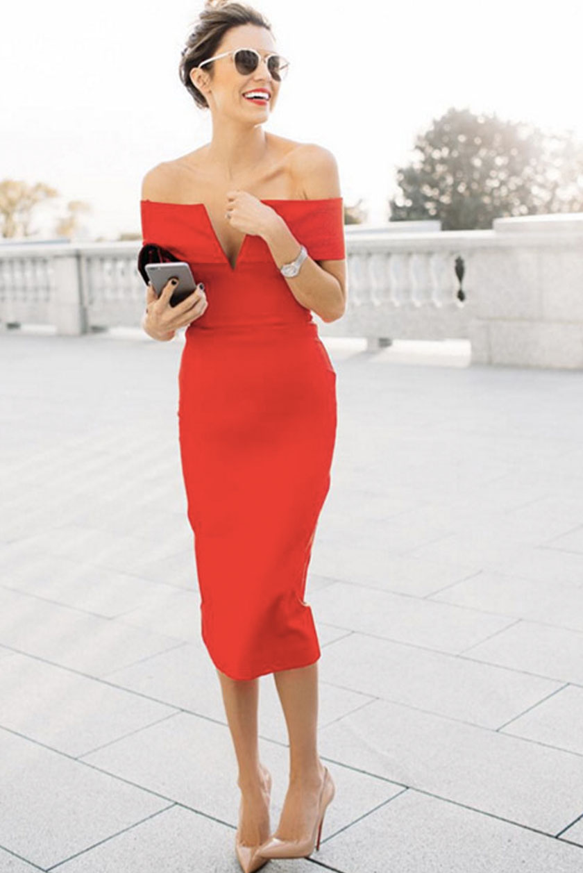 What to Wear to a Wedding: Off-the-Shoulder Fitted Red ...