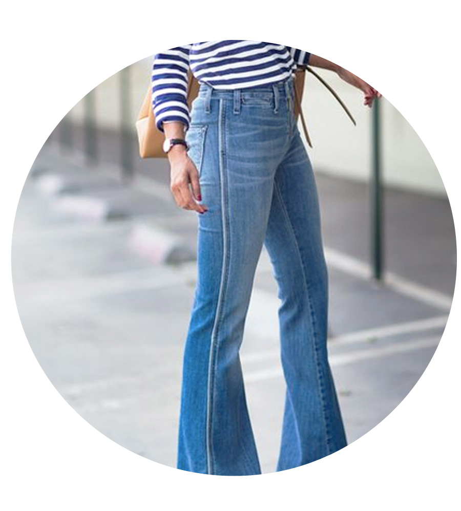Go with an exaggerated flare leg and stripes.