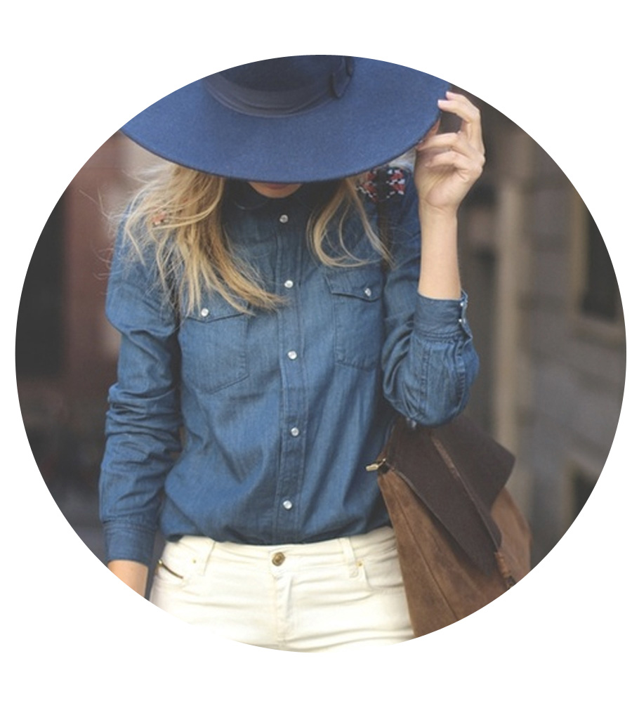 Opt for a navy hat to up the style quotient on classic denim.