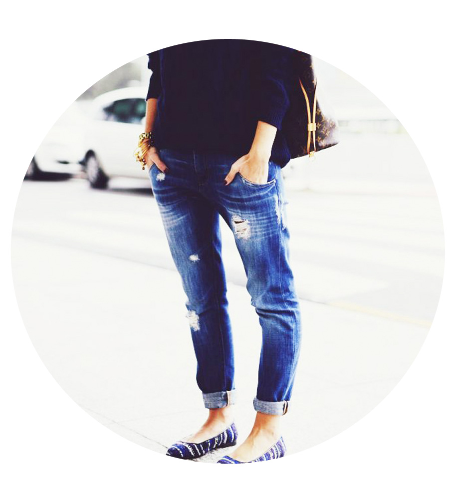 Pair casual jeans with a playful print on essential flats.