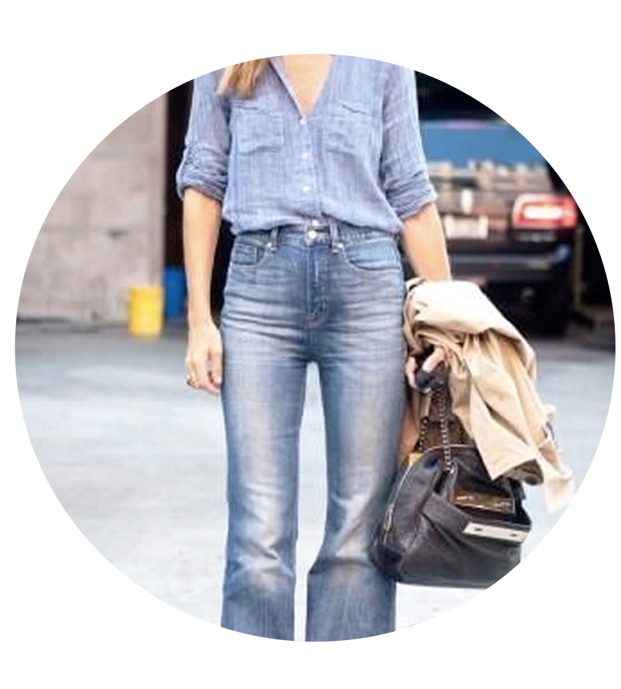 Go monochromatic with light wash denim on top and bottom.