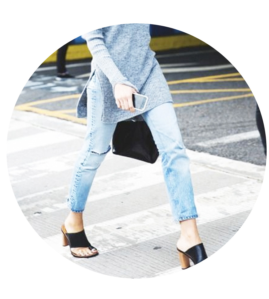 Pair ankle jeans with a tunic and mules, open or closed toe.
