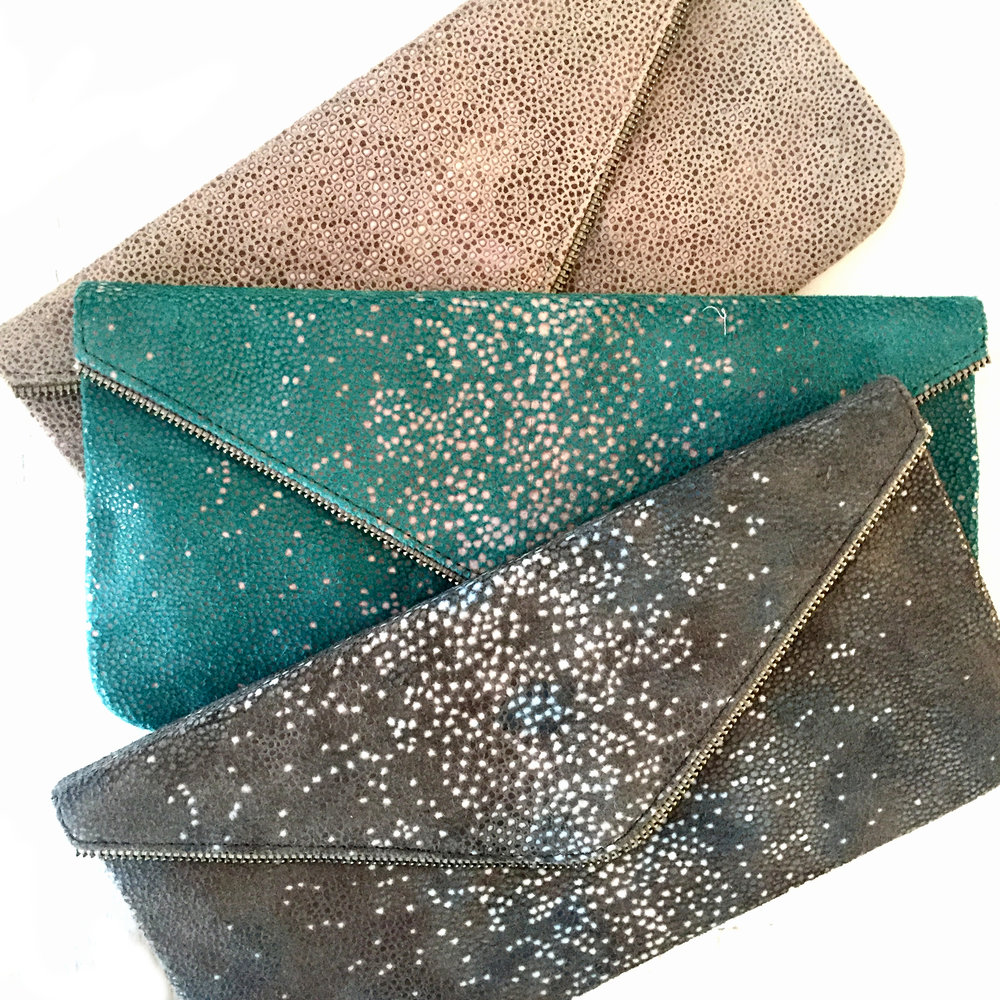Zipper Clutch in Stone, Oceana, and Charcoal Stingray Embossed Leather Design