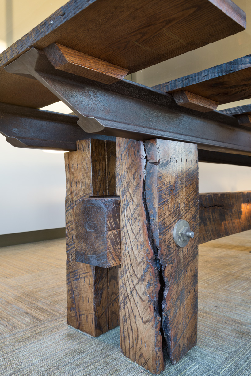 Bark seam detail on Wrong Side of the Tracks Conference Table from Rail Yard Studios