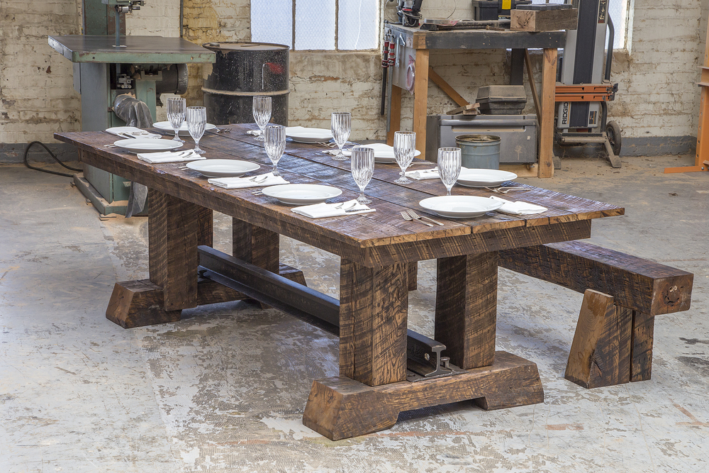 Trestle Dining Table crafted from salvaged Industrial Age railroad steel and timbers from Rail Yard Studios