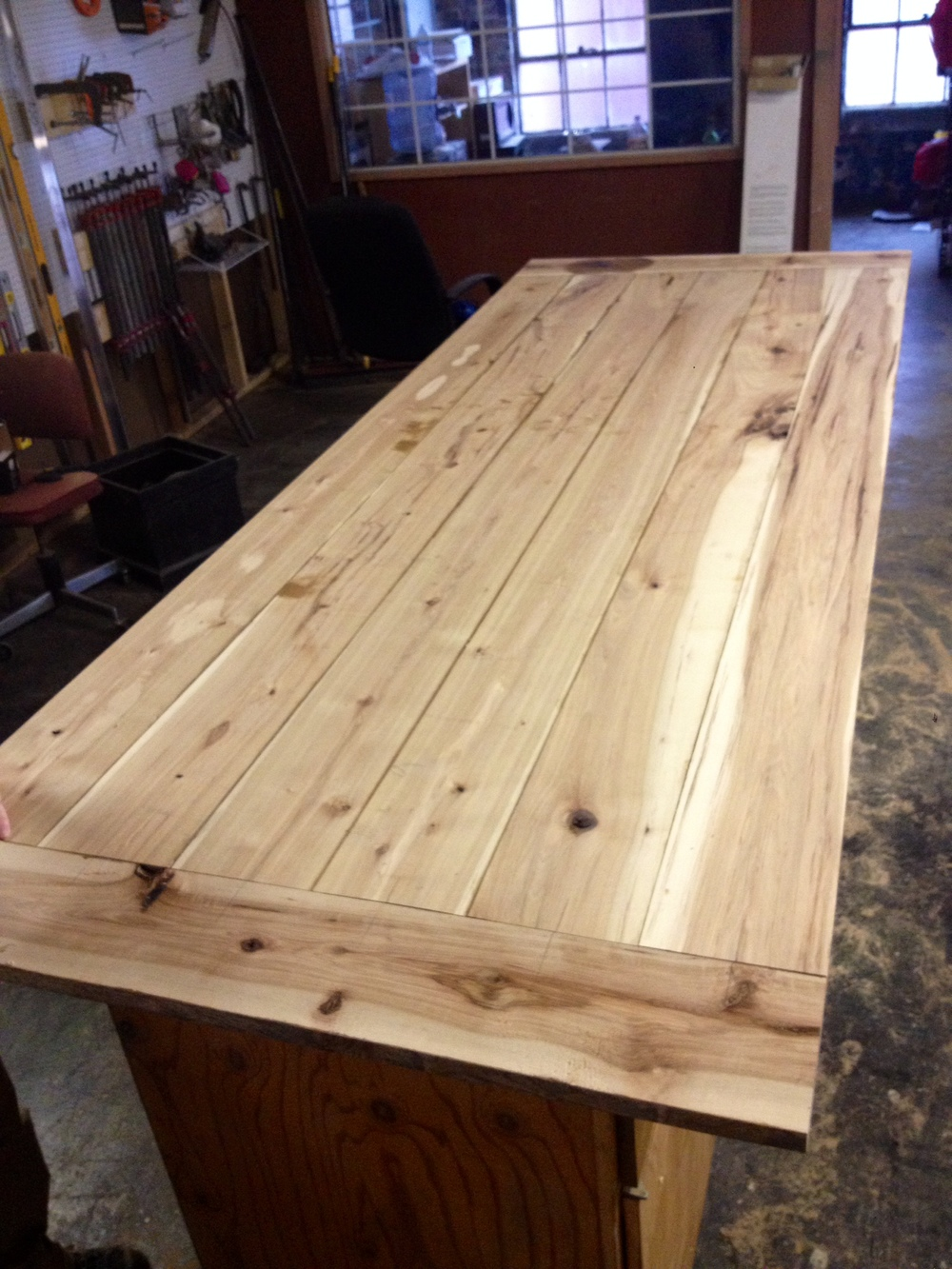 hickory tabletop for custom conference table from Rail Yard Studios