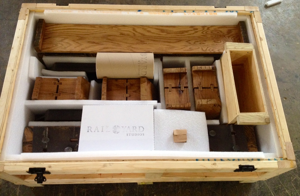 Sleepers packed for shipping from Rail Yard Studios