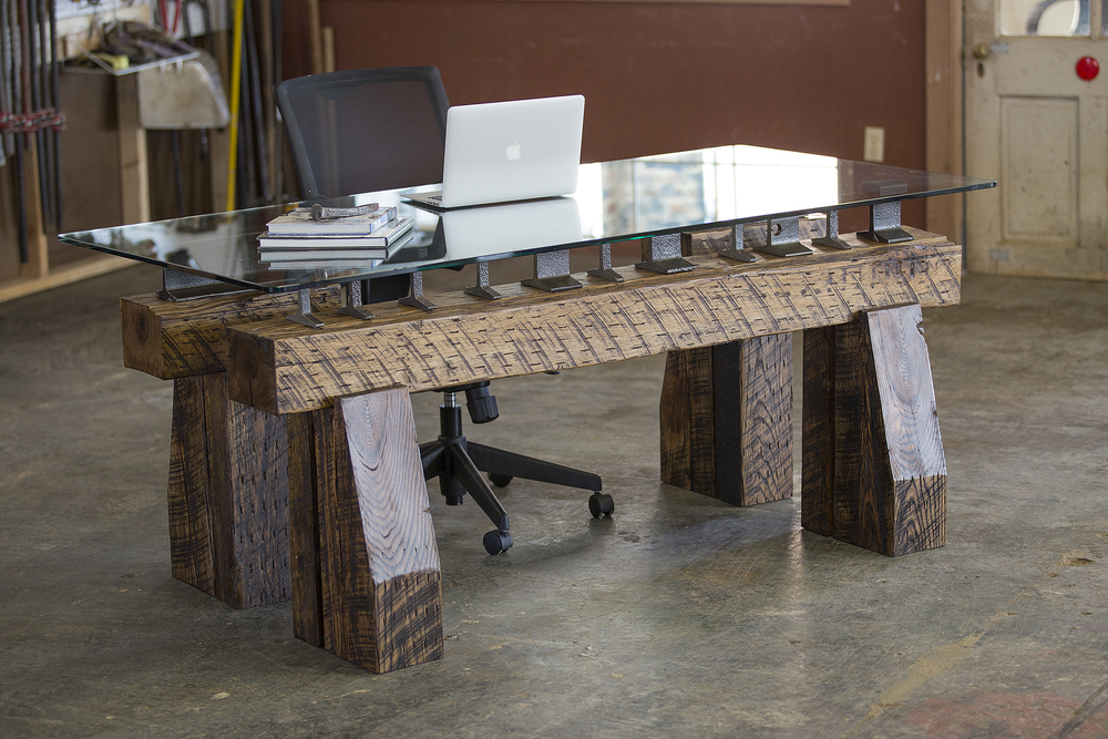 Telegraph Desk with Short and Long Sections of Rail from Rail Yard Studios
