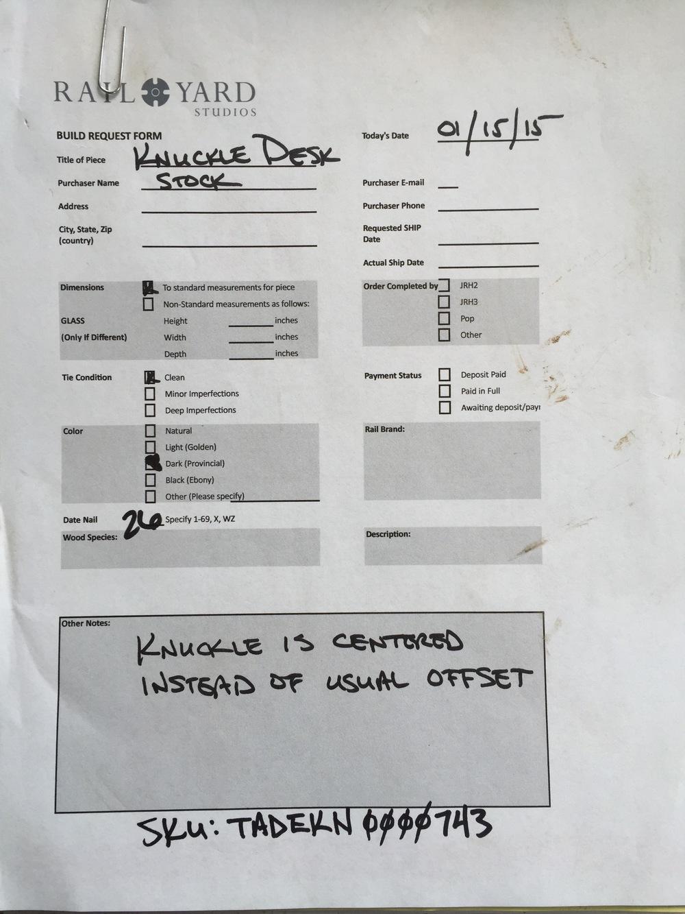 Knuckle Desk Build Sheet from Rail Yard Studios