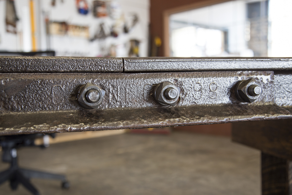 Knuckle Desk with CARNEGIE 1898 brand from Rail Yard Studios