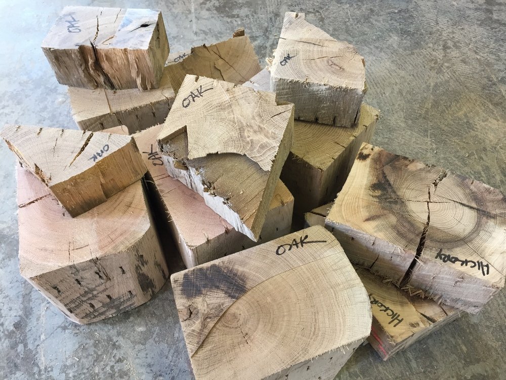 Oak and hickory scraps from Rail Yard Studios