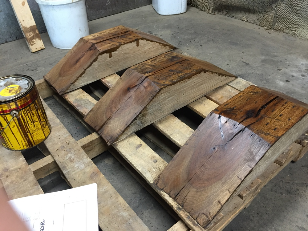 Triangle Coffee Table prior to assembly at Rail Yard Studios