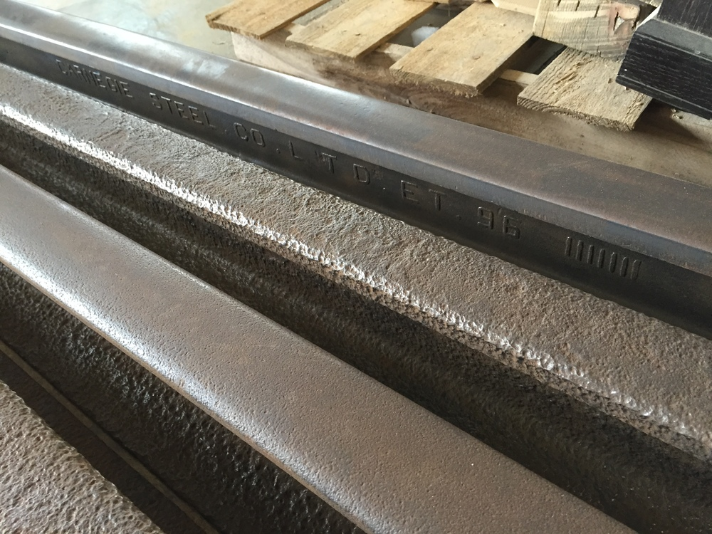 CARNEGIE railroad steel with 1896 brand from Rail Yard Studios
