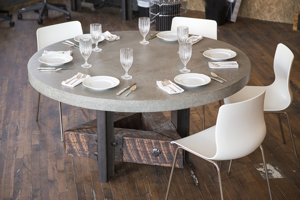 Triangle Dining/Conference Table (No. 39) Concrete Top
