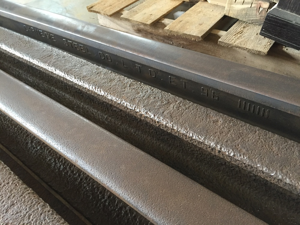 Freshly cleaned rail for the next project at Rail Yard Studios