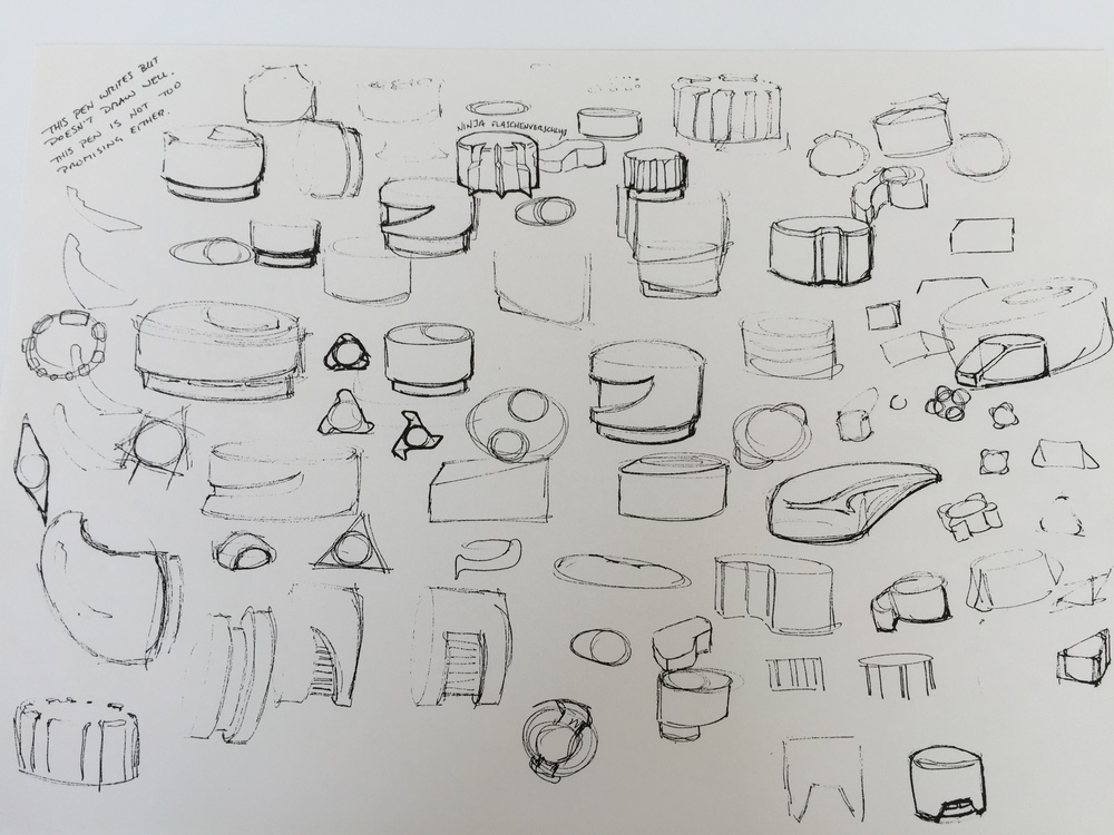 Sketches for bottle cap designs - early designs from the minds at Rail Yard Studios