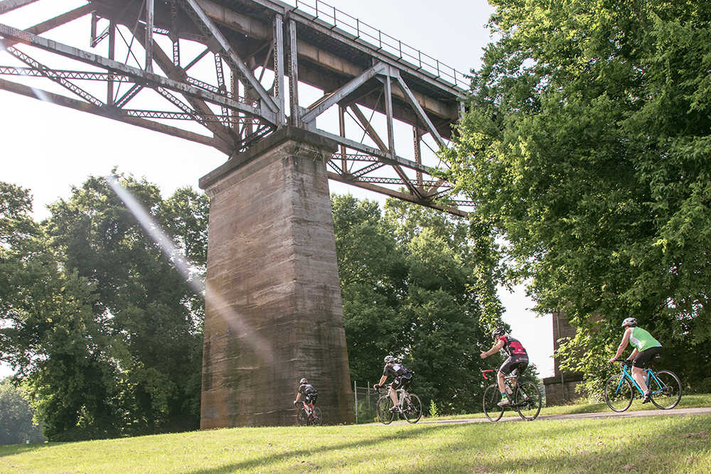 Under the Train Trestle riding for Alzheimer's Association on Team Rail Yard Studios