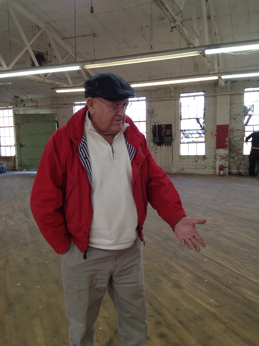 Pop enjoying the new old space at Rail Yard Studios