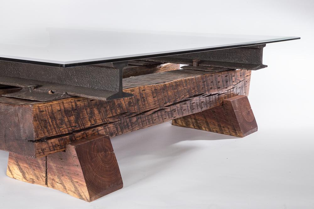 Three Timber Sleepers Coffee Table Custom Furniture Nashville