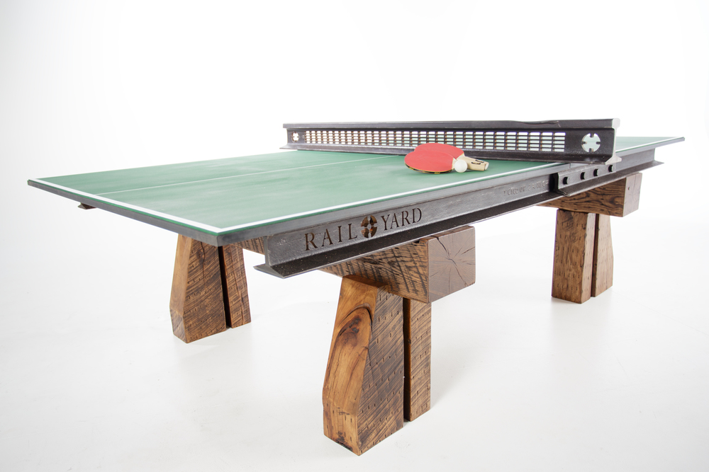 Click-Clack Table Tennis Table - Custom Design using Reclaimed Rail and New Hardwood Timbers